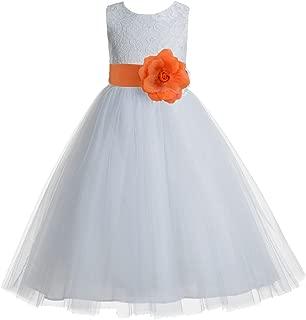 orange and white flower girl dresses