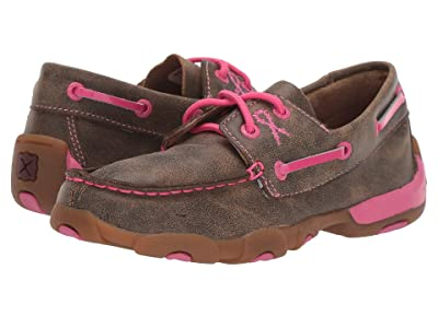 Twisted X Driving Moc Boat Shoe (Little Kid/Big Kid) (Bomber/Neon Pink) Shoes