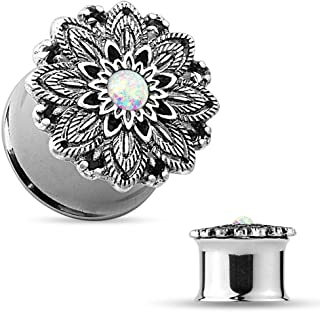 Dynamique Opal Centered Antique Silver Plated Lotus Flower Ear Plugs