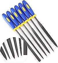 MINI Needle File Set (Carbon Steel 6 Piece-Set) Hardened Alloy Strength Steel - Set Includes Flat, Flat Warding, Square, T...