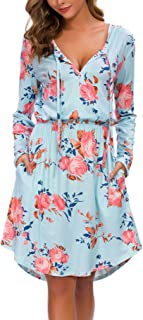 Women's Floral Fall Long Sleeve Pocket Pleated Swing Casual Dress with Pockets