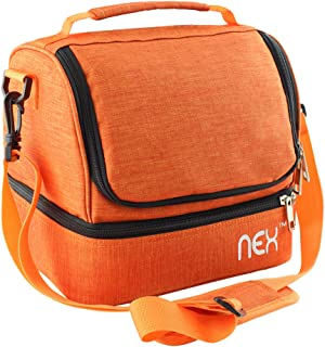 NEX Dual Compartment Lunch Bag for Men Women, Reusable Leakproof Insulated Cooler Bag for Work, School, Camping, Zip Closure and Shoulder Strap