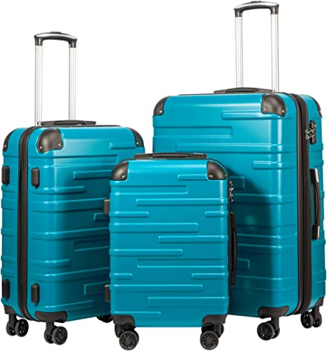 """Coolife Luggage Expandable(only 28"""") Suitcase 3 Piece Set with TSA Lock Spinner 20in24in28in (lake blue)"""