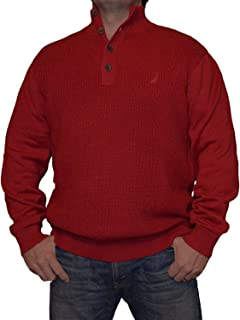 Men's Button Cable Knit Mock-Neck Sweater