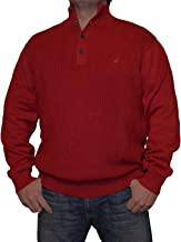 Nautica Men's Button Cable Knit Mock-Neck Sweater