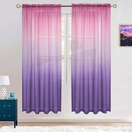 Gradient Sheer Curtain Window Lighten Color Voile Drape Valance Panel Fabric A6