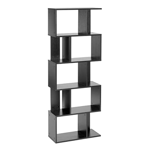 noir Absolute traiter /à 6 /étages /étag/ère de biblioth/èque haute unit/é daffichage 60 x 29 x 180 cm bois