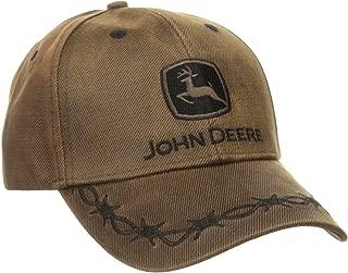 John Deere Mens 13080099BW Waxed Cott0n Embroidered Logo Cap Baseball Cap