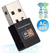 USB WiFi Adaptador, iAmotus WiFi Antenna 600Mbps Mini USB WiFi Dual Band 2.4G/5G, Receptor WiFi para PC Laptop Desktop,WiFi Dongle Soporte Windows 10/8/7/Vista/XP,MacOS Y Linux