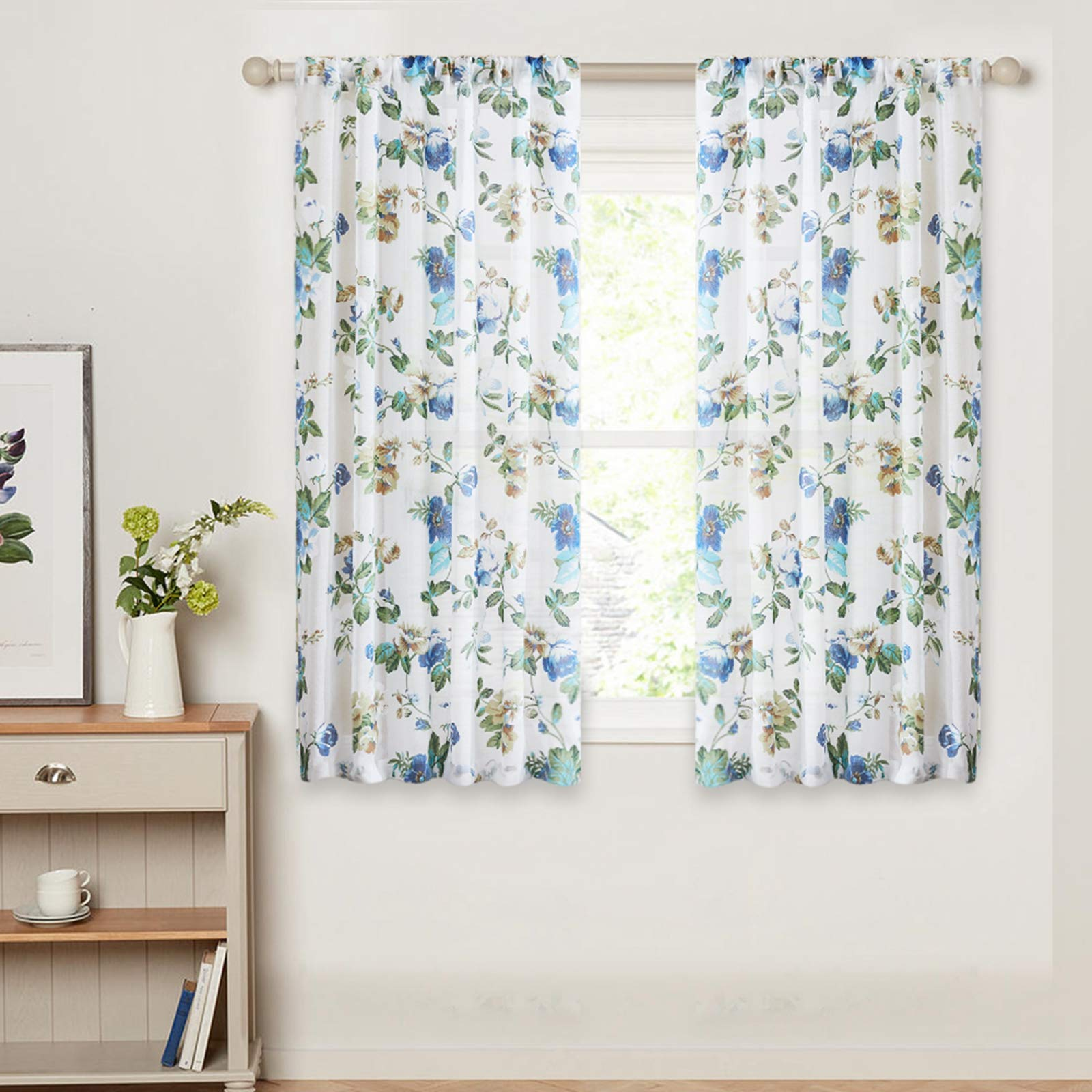 Amazon Com Mrtrees Printed Sheer Curtains 54 Inches Long Living Room Floral Leaf Print Window Curtain Sheers Bedroom Window Treatment Set Kitchen Vintage Rustic 2 Panels Rod Pocket Voile Drapes Blue Flowers
