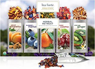 Tea Forte Single Steeps Herbal Retreat Organic Loose Leaf Tea Sampler, Assorted Tea Variety Pack, 15 Single Serve Pouches, Caffeine Free Tea