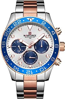 Naviforce Men's White Dial Stainless Steel Analogue Classic Watch - NF9147-SRG