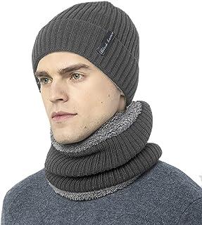 Novawo Thick Fleece Lined Stretchy Beanie Cap + Neck Warmer Set for Men Women