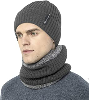 Novawo Thick Fleece Lined Stretchy Beanie Cap + Neck Warmer Set for Men Women