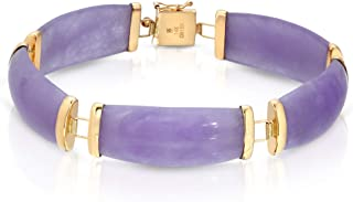 Regalia by Ulti Ramos Genuine Jade in Lavender Color Link Bracelet in 14K Yellow Gold 7