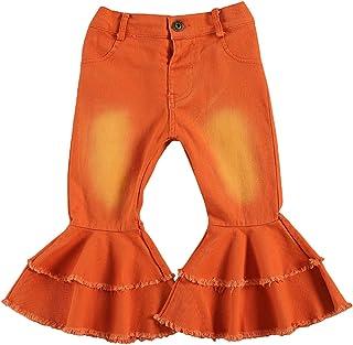 Pantalones de mezclilla acampanados para niña pequeña y niña, pantalones de mezclilla con volantes de pierna ancha