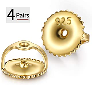"""DELECOE Earring Backs,18K Yellow Gold Plated Threaded Screw Earring Backs Secure Earring Backs, Hypoallergenic Stering Silver Screw Back Earring Post Sizes .032"""",8pcs/4pairs"""