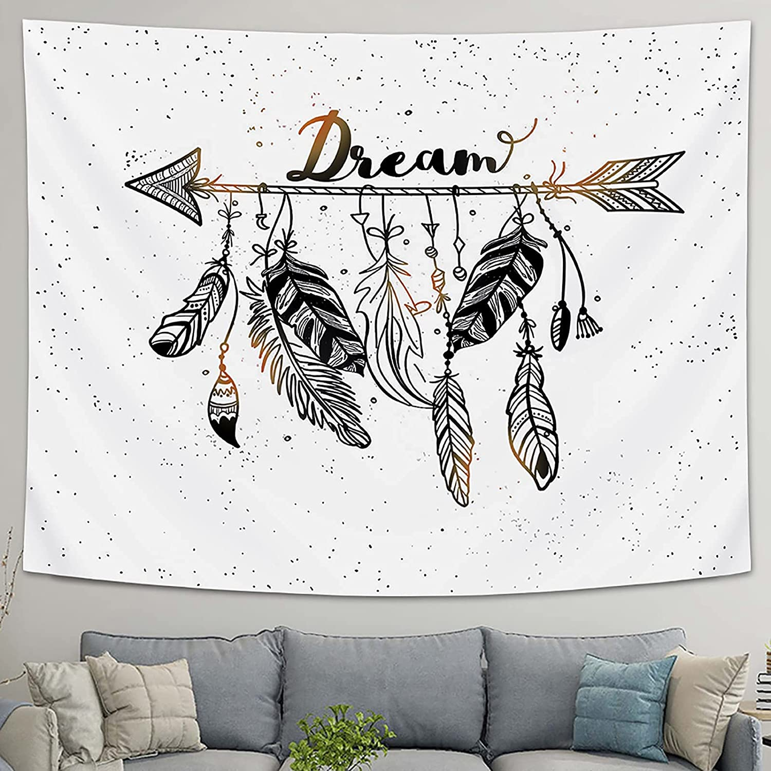 LOMOHOO Discount mail order Arrow Tapestry Vintage Feather Aztec Mail order Tribal Style Dream