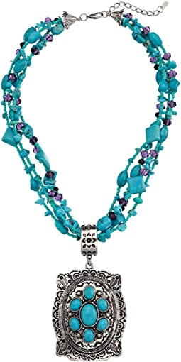 M&F Western - Turquoise Bead Oval Concho Necklace/Earring Set