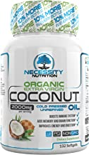 Coconut Oil Organic Extra Virgin 132 Softgel/Capsules/Pills 2000mg Pure Cold Pressed Non GMO - Great Natural Supplement Source - Supports Weight Loss.
