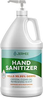 Jermee Moisturizing Hand Sanitizer Gel, 70% Alcohol - Kills 99.99% Germs, Enhanced with Vitamin E and Aloe Vera - Crystal ...