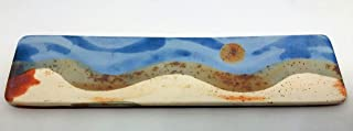 Bandeja de cerámica rectangular alargada para alimentación y decoración. 28x7,5