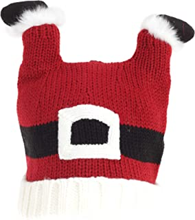 Adults Unisex Christmas Santa Feet Knitted Hat (UK Size: One Size) (Red/White)
