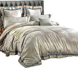 MKXI Cotton Sateen Floral Queen Bedding Duvet Cover Set European Style Zipper Bed Set Vintage Jacquard Duvet Quilt Cover Luxury Home Textile