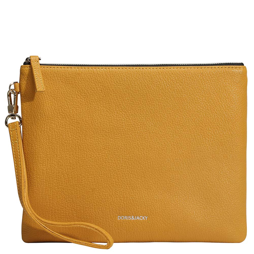 Soft Lambskin Leather Wristlet Clutch Bag For Women Designer Large Wallets With Strap