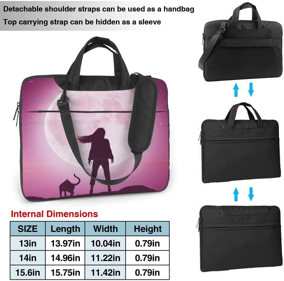 Cute Funny Girl with Cat Laptop Case 15.6 Inch Carrying Case with Strap