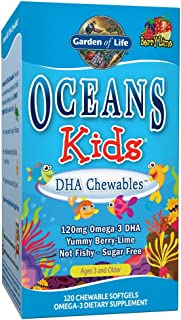 Garden of Life Fish Oil Omega 3 for Kids - Oceans Kids DHA Cod Liver Oil Chewable Softgels - Berry Lime, 120mg Omega-3 DHA...