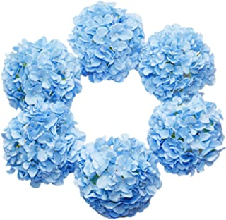 DuHouse Artificial Bigger Silk Hydrangea Flower Heads with Stem Fake Blue Hydrangea Flowers for Wedding Home Garden Centerpiece Pack of 6
