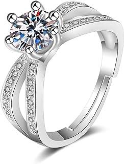 Splendente Fashion Ring Imitation Jewelry Artificial Diamond- with Fashion Crown Design Adjustable Ring for Men Women Boys...