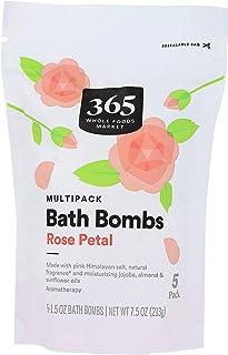 365 by Whole Foods Market, Bath Bombs, Rose Petal (5 - 1.5 Ounce Bath Bombs), 7.5 Ounce