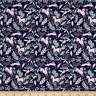 Michael Miller Fabrics Jersey Knit Magic Folk Fabric by The Yard, Navy