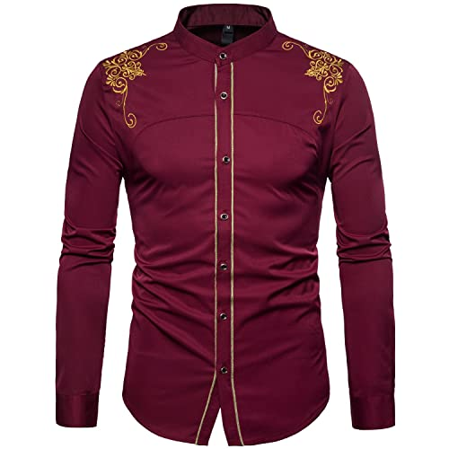 WHATLEES Mens Hipster Casual Slim Fit Long Sleeve Button Down Dress Shirts  Tops with Embroidery 372fc4cefa4