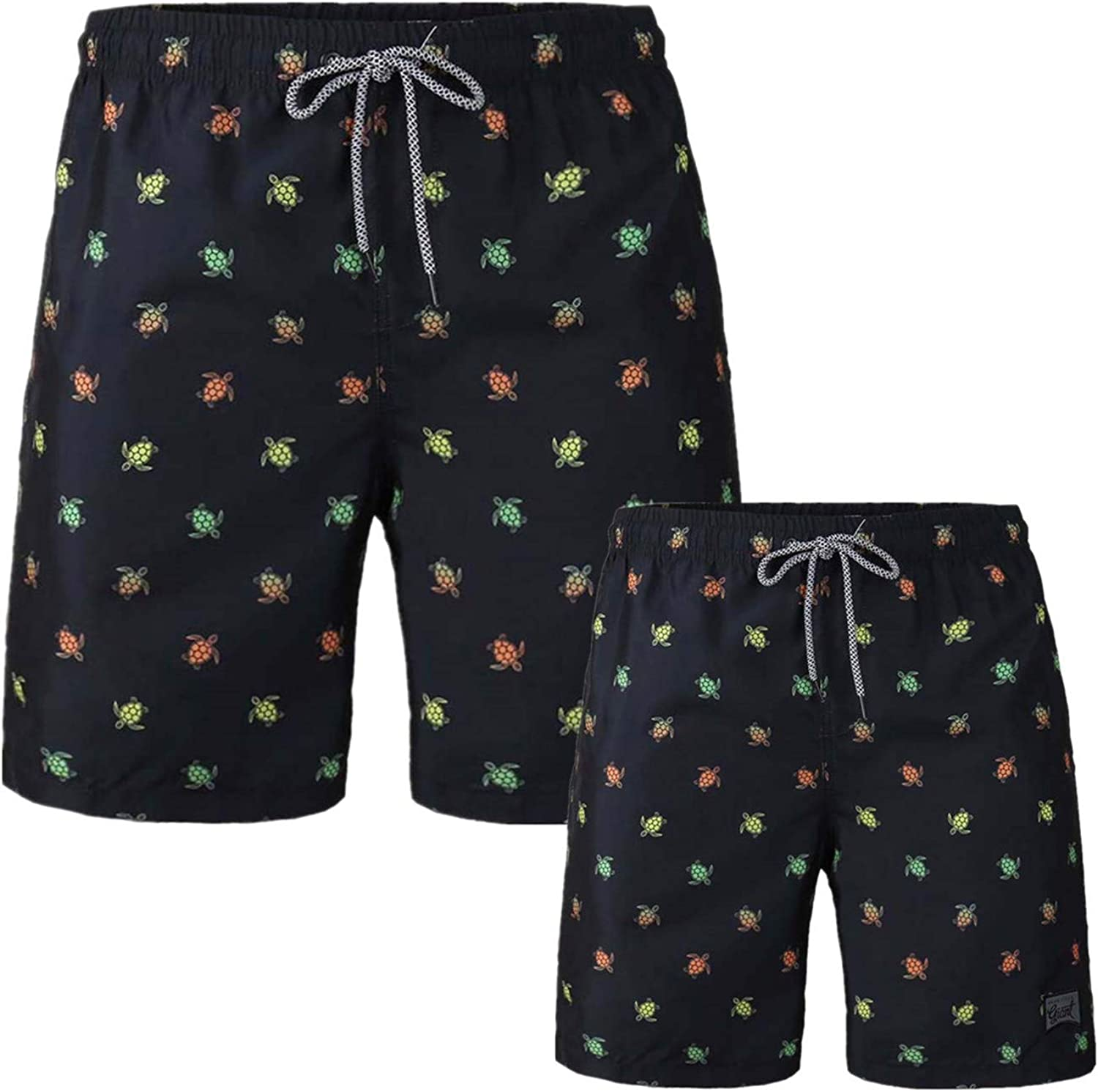 HURBE Father and BoysSwim Trunk Drawstring Surfing Fast Dry Vacation Underwear