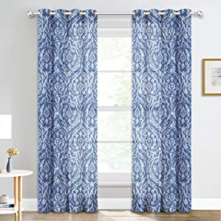 NICETOWN Paisley Print Sheer Curtains - Eyelet Top Vintage Style Semi Sheer Window Coverings Innovative Damask Floral Pattern Window Draperies for Hall & Porch (W52 x L95 Inch, 1 Pair, Indigo)