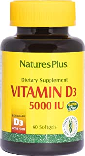 NaturesPlus Vitamin D3 (Cholecalciferol) - 5000 iu, 60 Softgels - Bone Health, Heart Health & Immune System Support Supplement, Bioavailable Active Form - Gluten-Free - 60 Servings