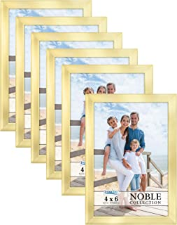 Icona Bay 4x6 Picture Frames (Gold, 6 Pack), Modern Professional Frame Set, Noble Collection