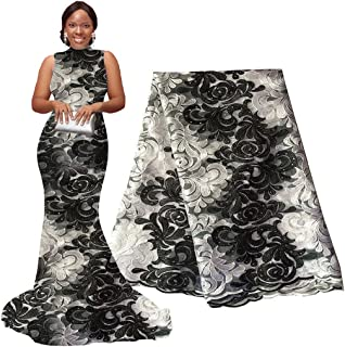 pqdaysun African Lace Fabric 5 yards 2019 Nigerian Lace French Lace Fabric Embroidered and Rhinestones Guipure Cord Lace(black and white)