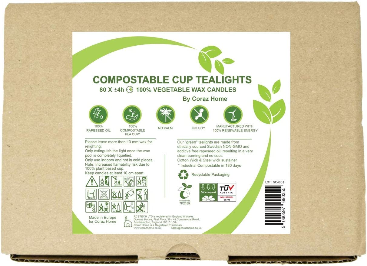Compostable Cup Tea Lights Industrial Composting Vegetable Wax Rapeseed Wax Tealights 4 or 6 Hours Burning Time Pack of 80 Candles Unscented Plastic Free 80 Tealights x 4 Hours Burning Time