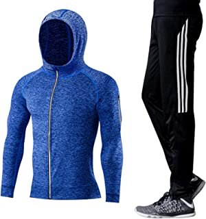 Men's Sports Running Set Men's Fitness Suit Compression Shirt and Trousers Top, Long-Sleeve Sports Tight-Fitting Base Coa...
