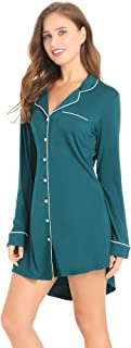 Womens Nightshirt Short Sleeve Sleep Shirt Soft Bamboo Button Down Pajama Nightgown