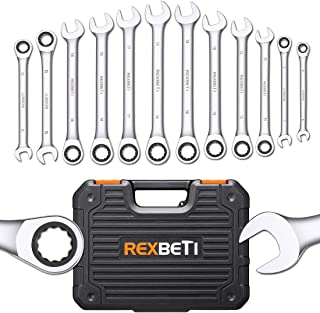 REXBETI 12-Piece Metric Ratcheting Wrench Set, 8-19MM, Chrome Vanadium Steel Combination Wrench Set With Durable Blow Mold Case