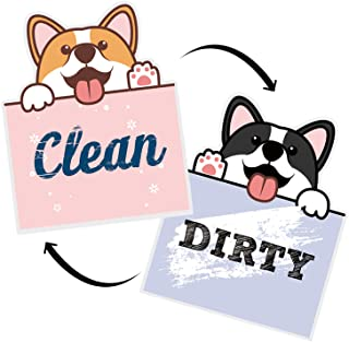 """Nidoul Clean Dirty Dishwasher Magnet Sign, 3.3"""" X 2.8"""" Waterproof Double Sided Strongest Magnets Flip Indicator, Cute Dog ..."""