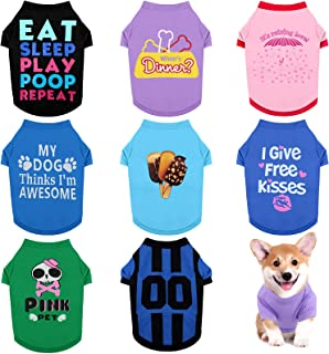 RUODON 8 Pieces Pet Breathable Shirts Printed Puppy Shirts Pet Sweatshirt Cute Dog Apparel Puppy Dog Clothes Soft T-Shirt ...