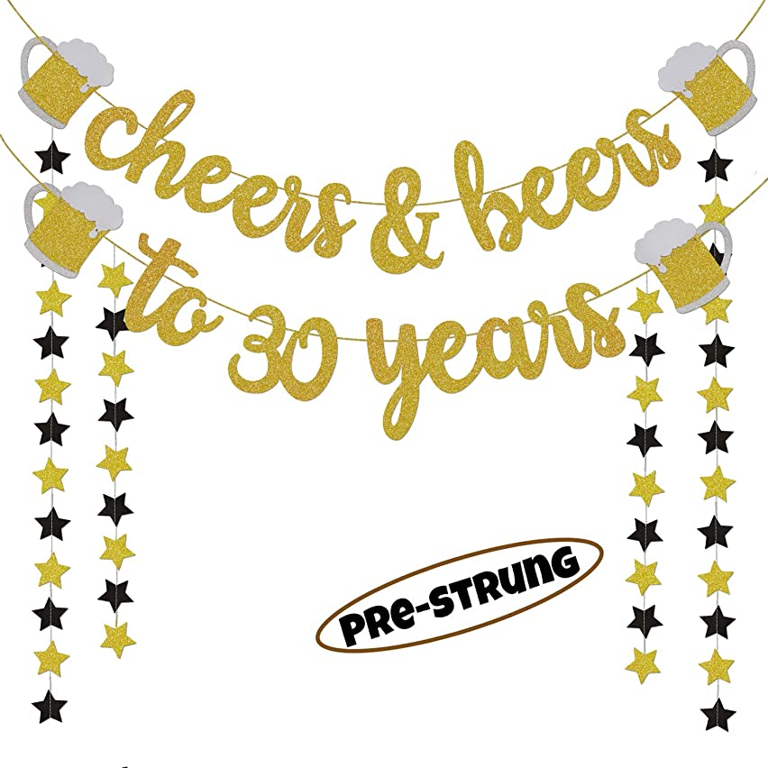 30th Birthday Decorations for Him/Her - Cheers & Beers to 30 Years Gold Glitter Banner - 30 Years Wedding, Anniversary Party Favor Supplies for Men/Women - PRE-Strung