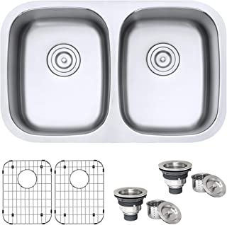 Ruvati 29-inch Undermount 50/50 Double Bowl 16 Gauge Stainless Steel Kitchen Sink – RVM4301