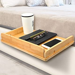 HUANUO Bedside Shelf - Bamboo Bedside Phone Stand with Cable Management & Cup Holder, Versatile Use as Snack Bedside Table, Tablet Holder, Easy Assemble Organizer for USB Cable, Earphone and Tissue